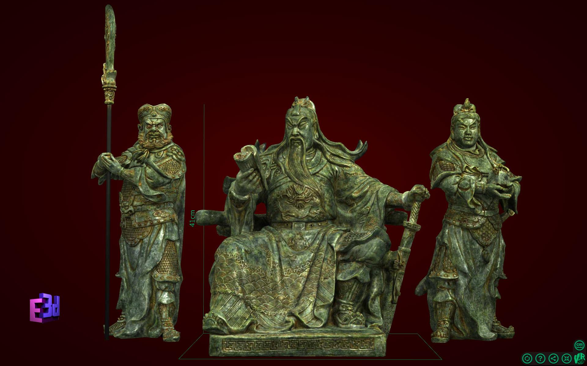Bộ tượng Tam Thánh: Quan Công, Châu Xương, Quan Bình