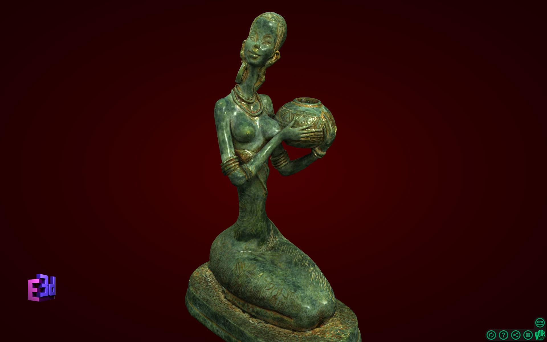 Cô gái ngồi bê lọ - Tượng nghệ thuật