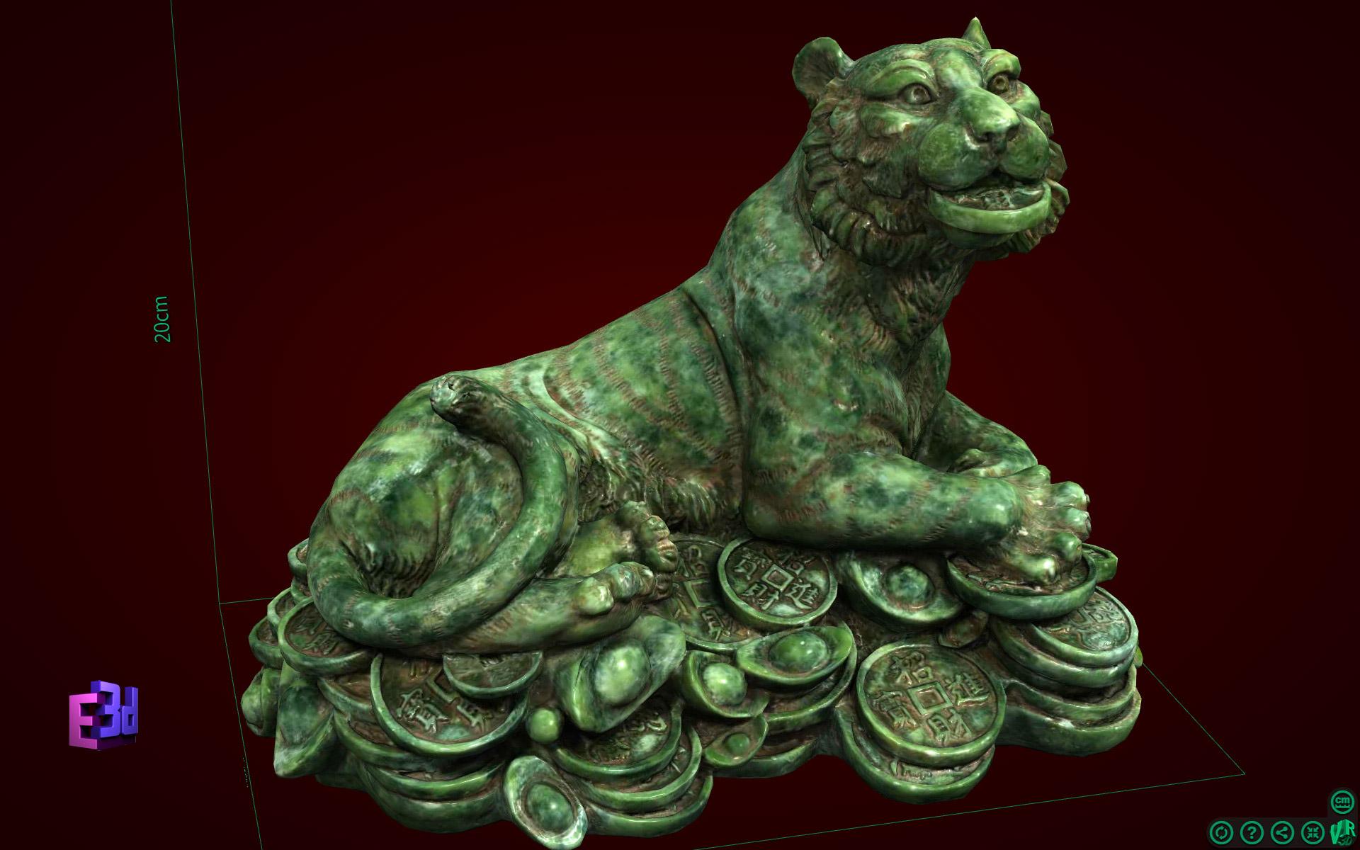 Tượng Hổ nằm trên đống tiền