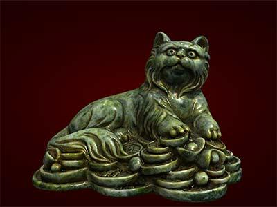 Tượng mèo tiền trong bộ giáp. Tượng đúc nhựa composite. Hàng thủ công mỹ nghệ dùng làm quà tặng