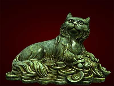 Tượng mèo tiền hiển thị bằng công nghệ 3d
