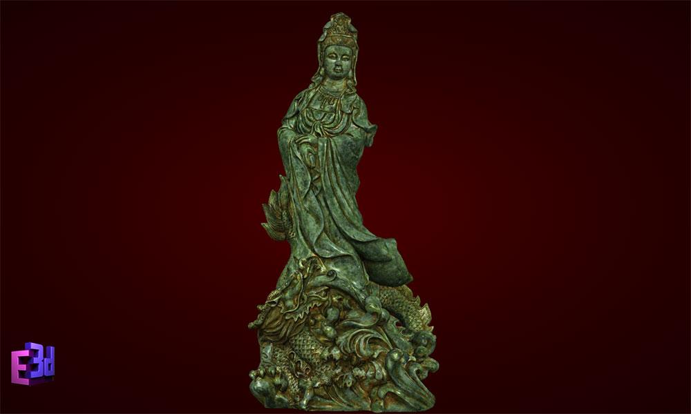 Tượng Phật Bà Quan Âm đứng rồng