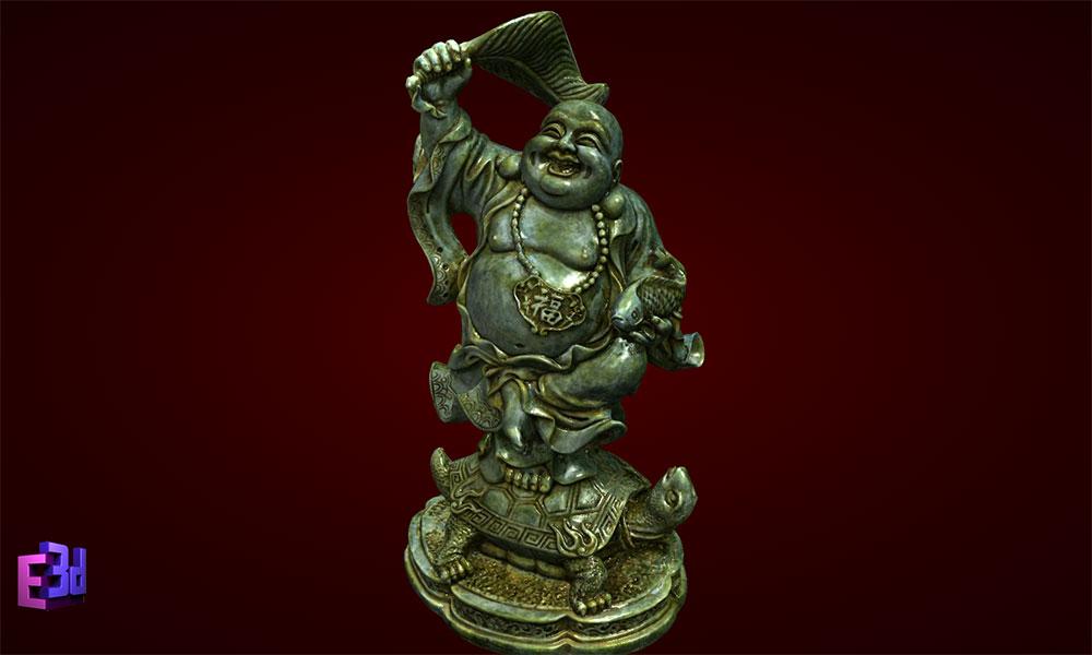 Phật Di Lặc cầm quạt đứng rùa