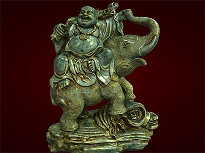 Tượng Phật Di Lặc cưỡi voi. Tượng phong thủy. Hàng thủ công mỹ nghệ. Đồ lưu niệm. Quà tặng. Tượng tôn giáo. Tượng đuc.Tượng thờ