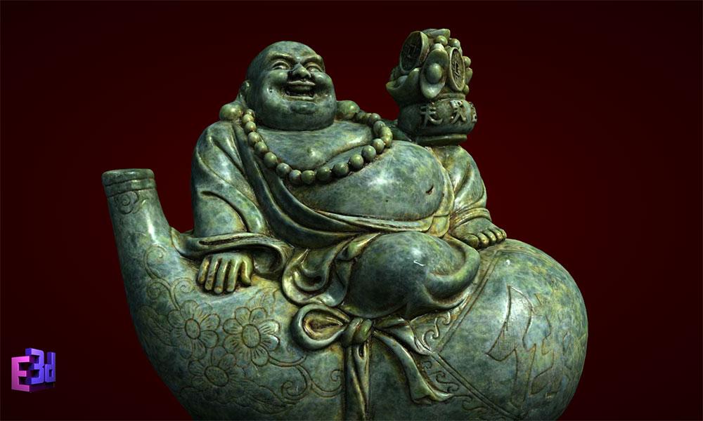 Phật Di Lặc ngồi trên bầu rượu to