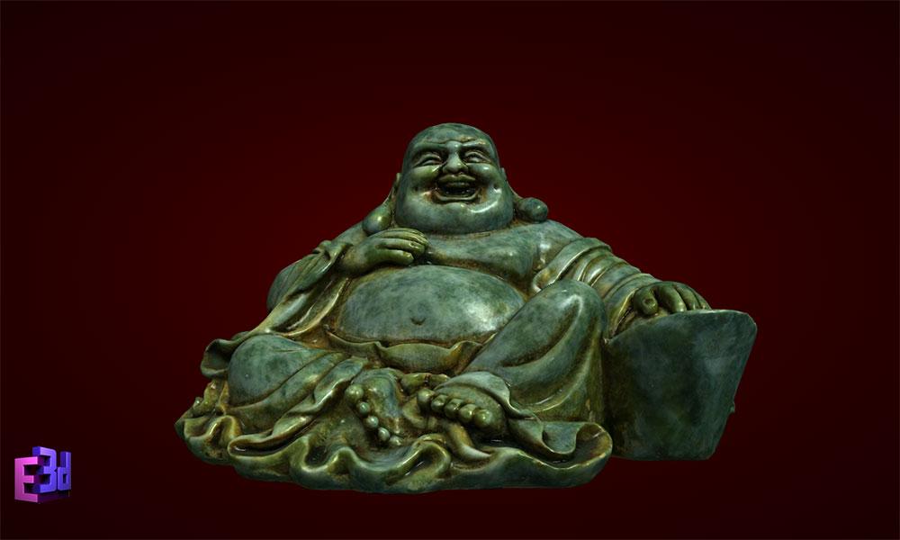 Phật Di Lặc ngồi tựa cục vàng bé