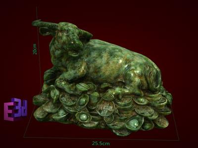 Tượng trâu nằm trên đống tiền to, Tượng trâu phong thủy, Trang trí nội thất trong nhà