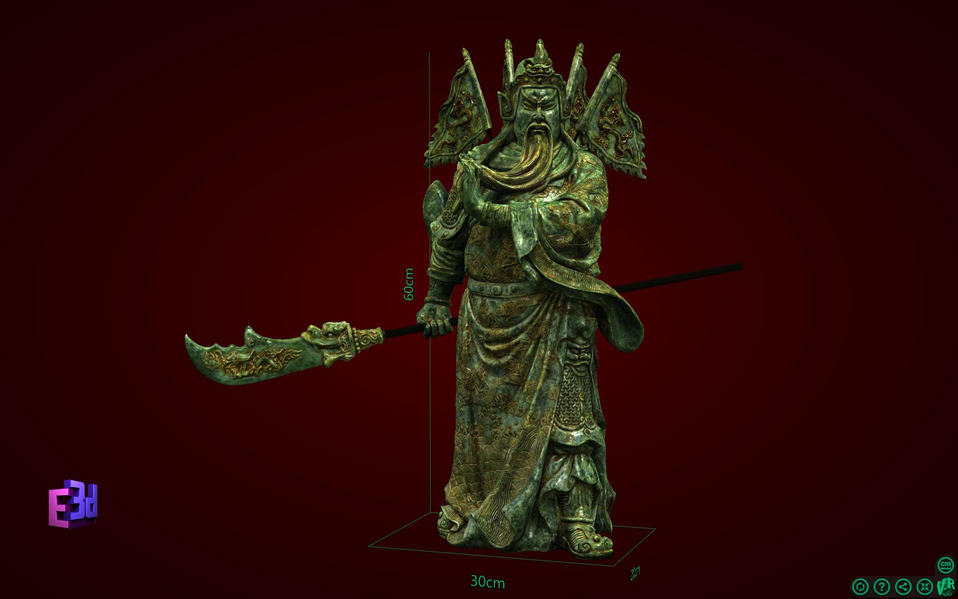 Tượng Quan Công đứng 60cm